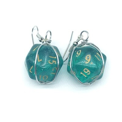 Dice Earrings - Transparent teal with glitter and gold numbers