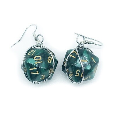 Dice Earrings - Marbled dark green with gold numbers