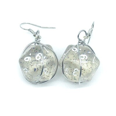 Dice Earrings - Clear with glitter and white numbers