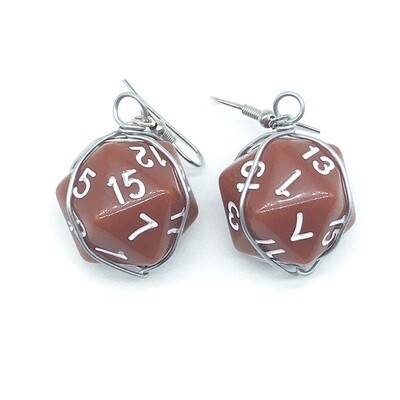 Dice Earrings - Opaque brown with white numbers