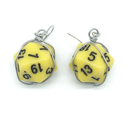 Dice Earrings - Opaque yellow with black numbers