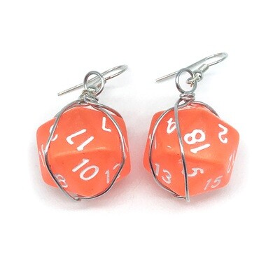 Dice Earrings - Translucent orange with white numbers