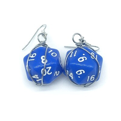 Dice Earrings - Opaque blue with white numbers