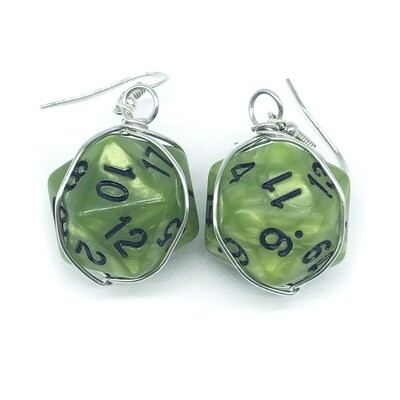 Dice Earrings - Marbled green with black numbers
