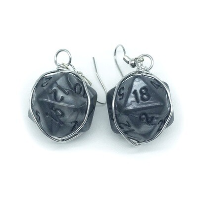 Dice Earrings - Marbled grey with black numbers