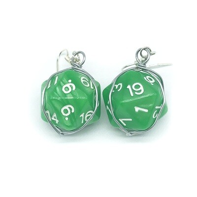 Dice Earrings - Marbled green with white numbers