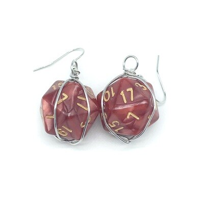 Dice Earrings - Marbled red with gold numbers
