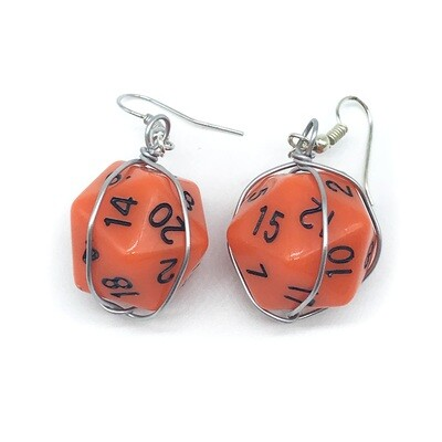 Dice Earrings - Opaque orange with black numbers