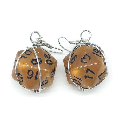 Dice Earrings - Marbled brown with black numbers