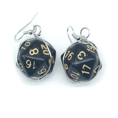 Dice Earrings - Opaque black with glitter and gold numbers