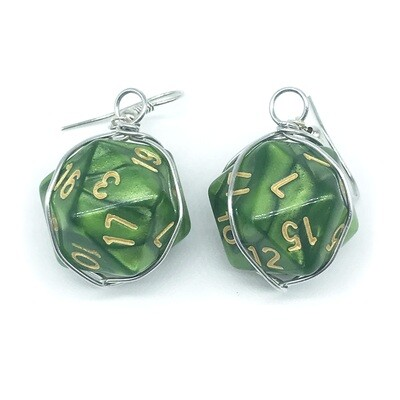 Dice Earrings - Marbled green with gold numbers