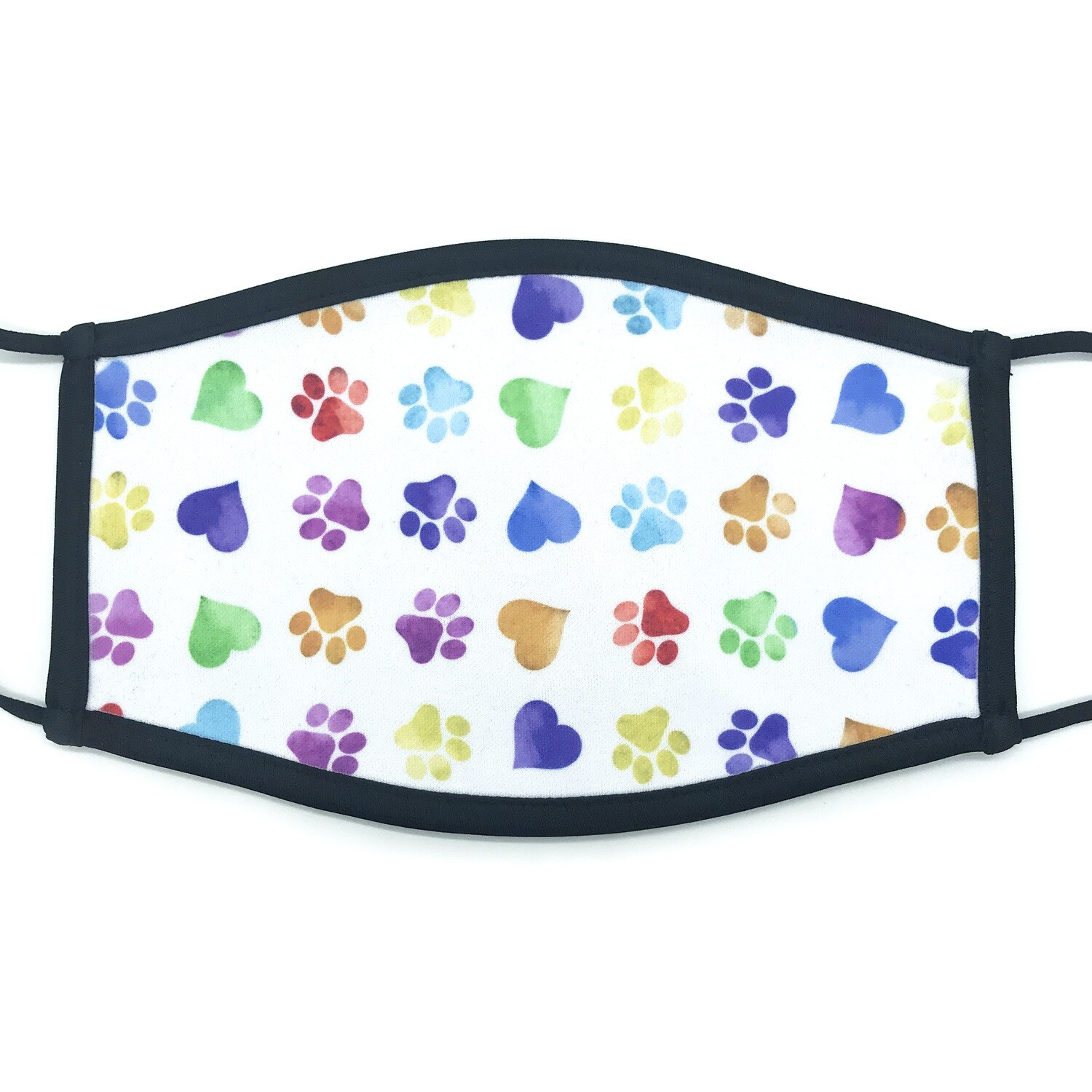 Colorful paws & hearts fabric mask - large
