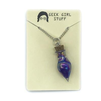 Potion Necklace - Purple, drop bottle