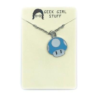 Charm Necklace - Light blue mushroom