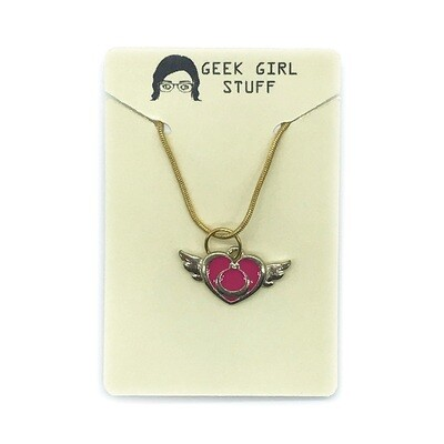 Charm Necklace - Pink heart with wings