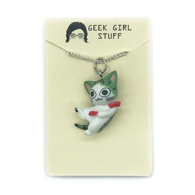 Charm Necklace - 3d green and white cat
