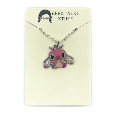 Charm Necklace - Pink alien friend