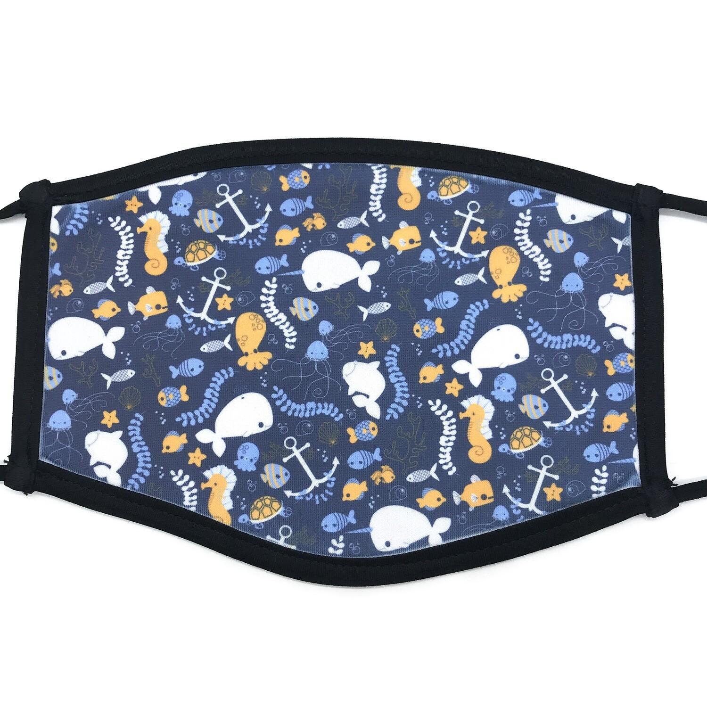 Cute & simple ocean life fabric mask - large