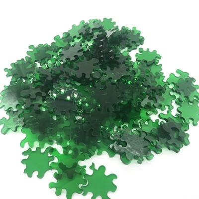 100 piece green acrylic puzzle - blob pieces, no edges