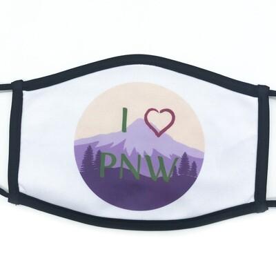 I Love PNW fabric mask - large
