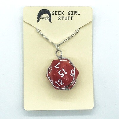 Dice Necklace - Marbled red with white numbers