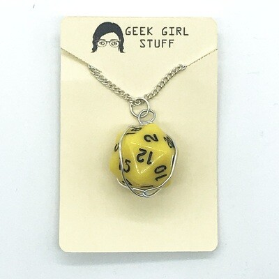 Dice Necklace - Opaque yellow with black numbers
