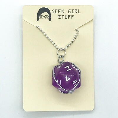Dice Necklace - Transparent purple with white numbers