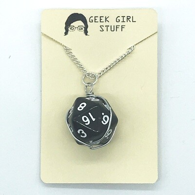 Dice Necklace - Transparent black with white numbers