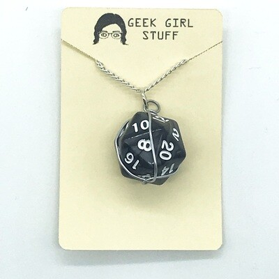 Dice Necklace - Marbled black with white numbers
