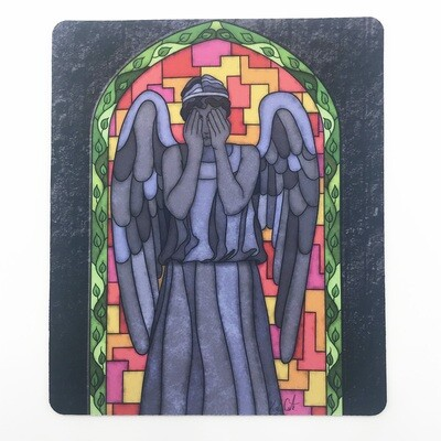 Mousepad/Game Mat - Stained Glass Weeping Angel