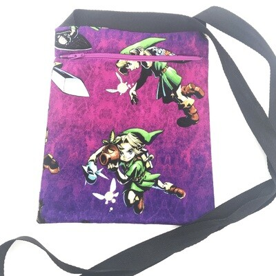Zippered Pouch - Link on purple