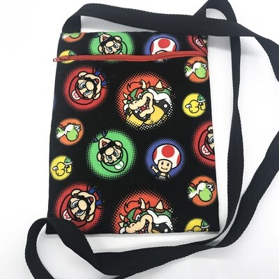 Zippered Pouch - Mario characters on black