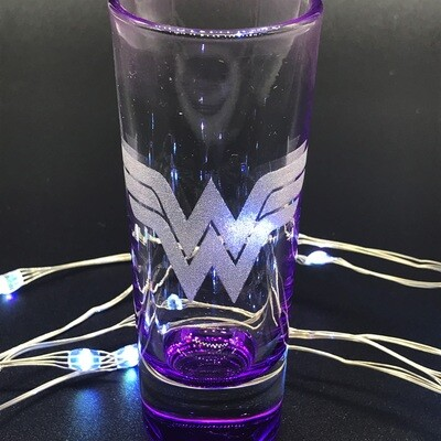 Etched 2oz shot glass - Female Superhero - Purple