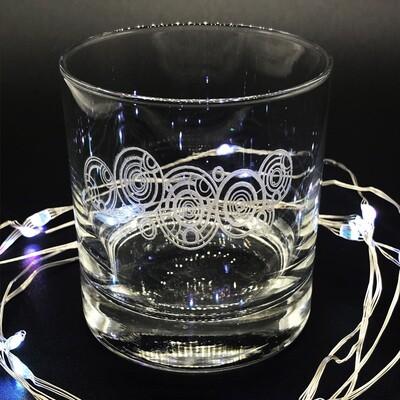 Etched 8oz rocks glass - Gallifreyan
