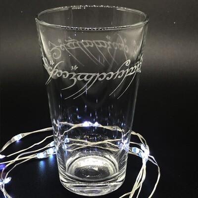 Etched 16oz pub glass - One Ring Script