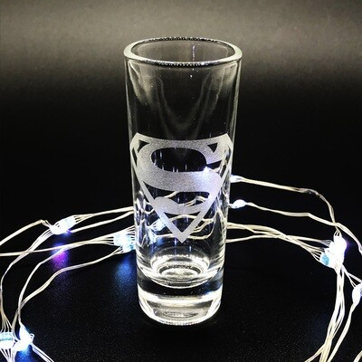 Etched 2oz shot glass - Male Superhero