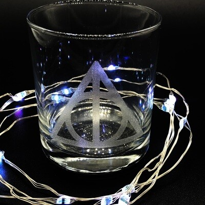 Etched 8oz rocks glass - Deathly Hallows