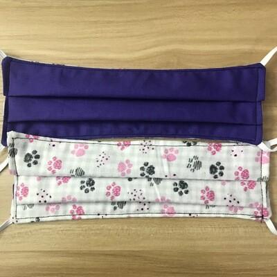 Purple & Plaid Toe Beans fabric pleated mask - elastic bands