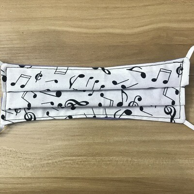 Music Notes on White fabric pleated mask - elastic bands