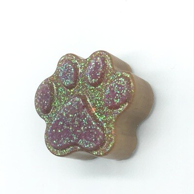 Brown paw w/ pink toe beans (extra glitter) resin magnet