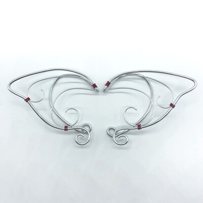 Elf Ear Cuff - Silver with Red Accents