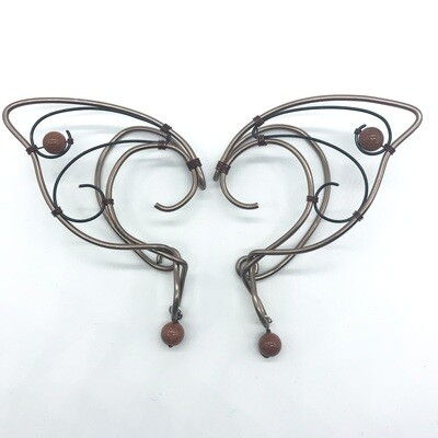 Elf Ear Cuff - Brown and Black with Sparkly Brown Beads