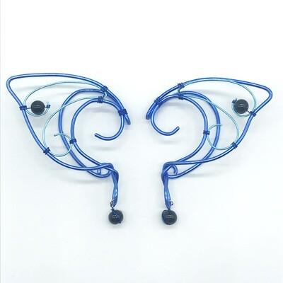 Elf Ear Cuff - Dual Tone Blue with Black Beads