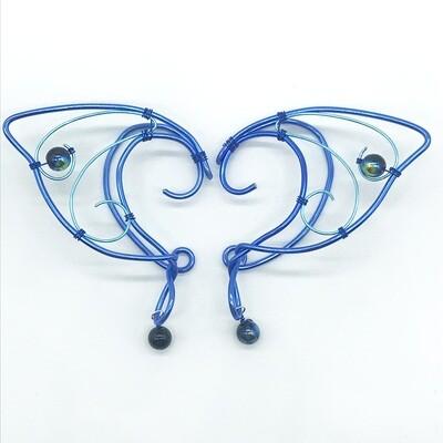 Elf Ear Cuff - Dual Tone Blue with Black Shiny Beads