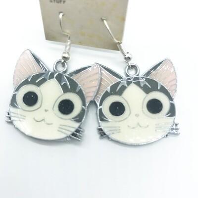 Cat character face earrings
