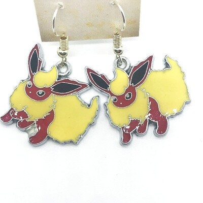 Red and yellow fire fox pet earrings