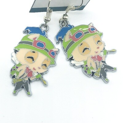 Cat character with green outfit earrings