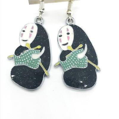 Knitting faceless friend earrings