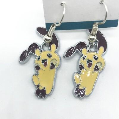 Yellow and brown long ear bunny pet earrings
