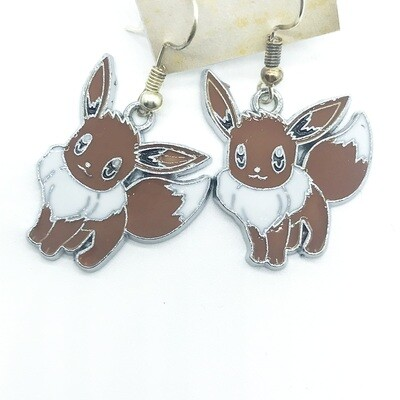 Brown and white fox pet earrings
